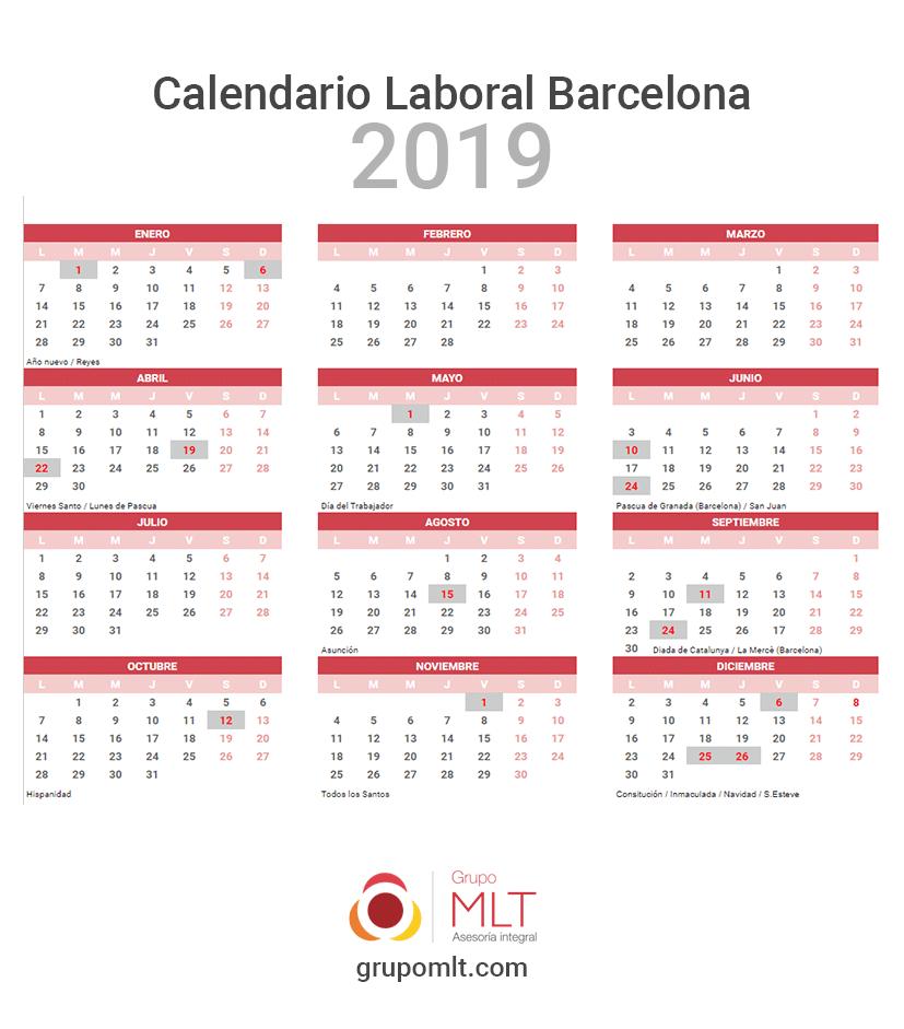 Calendario Laboral Barcelona 2020.Calendario Laboral 2019 De Barcelona Gabinete Gestor